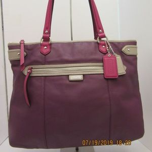 Coach Daisy large purple leather spectator tote
